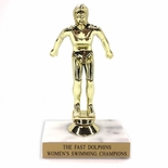 6-1/2 INCH FEMALE SWIMMER TROPHY FIGURE ON MARBLE BASE