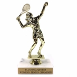 6-1/2 INCH FEMALE TENNIS TROPHY FIGURE ON MARBLE BASE