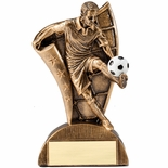 6-1/2 INCH MALE SOCCER FLAG RESIN TROPHY