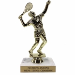 6-1/2 INCH MALE TENNIS TROPHY FIGURE ON MARBLE BASE