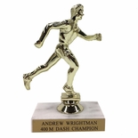 6-1/2 INCH MALE TRACK TROPHY FIGURE ON MARBLE BASE