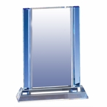 8-1/2 X 6-1/2 INCH BLUE COLUMN OPTICAL CRYSTAL AWARD