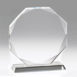 6-1/4 INCH CRYSTAL 8 SIDED OCTAGON AWARD