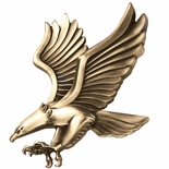 6-1/4 x 6 LARGE EAGLE PLAQUE MOUNT ANTIQUE BRASS DIE CAST