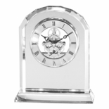 6-3/4 X 5-1/2 INCH SKELETON ARCHED OPTICAL CRYSTAL CLOCK