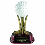 6-5/8 INCH RESIN GOLF BALL ON CLUBS TROPHY