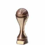 6 BASKETBALL TROPHY SCULPTED HEAVY WEIGHTED ANTIQUE TWO-TONE GOLD FINISH