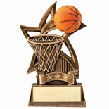 6 INCH BASKETBALL SWEEPING STAR RESIN TROPHY