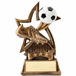 6 INCH SOCCER SWEEPING STAR RESIN TROPHY