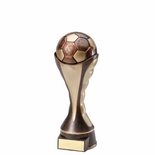 6 SOCCER BALL SCULPTED HEAVY WEIGHTED PLASTIC TROPHY ANTIQUE GOLD