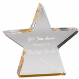 6X 1 CLEAR ACRYLIC STAR WITH REFLECTIVE GOLD BASE