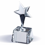 6 INCH SILVER METAL STAR TROPHY ON CRYSTAL BASE W/ SILVER ENGRAVING PLATE