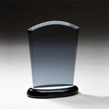 6 INCH SMOKED GLASS AWARD ON BLACK BASE WITH ALUMINUM ACCENTS