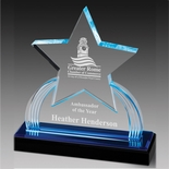 7-3/4 INCH ACRYLIC STAR TROPHY WITH BLUE REFLECTIVE BLACK BASE