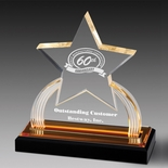 7-3/4 INCH ACRYLIC STAR TROPHY WITH GOLD REFLECTIVE BLACK BASE