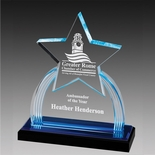 6 x 8 3/4 ACRYLIC STAR TROPHY WITH BLUE REFLECTIVE BLACK BASE