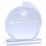 6 x 8 CLEAR ACRYLIC CIRCLE FLAIR AWARD WITH FROSTED EDGES