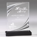 6 x 8 CLEAR MACHINE GROOVED ACRYLIC AWARD RECTANGLE ON MARBLE BASE