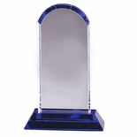 9-1/4 X 6 INCH OPTICAL CRYSTAL TOWER ARCHED TOP ON BLUE BASE