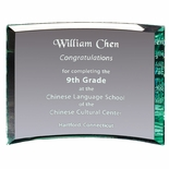6x8x3/8 PREMIUM GLASS CURVED AWARD JADE COLOR BEVELED EDGE