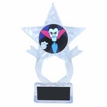 7-1/2 INCH CLEAR ACRYLIC SHOOTING STAR TROPHY WITH VAMPIRE INSERT