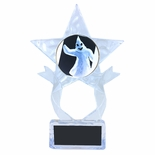 7-1/2 INCH CLEAR ACRYLIC STAR TROPHY WITH GHOST INSERT