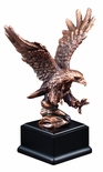 7-1/2 INCH ELECTROPLATED BRONZE ATTACKING AMERICAN EAGLE TROPHY ON BLACK BASE