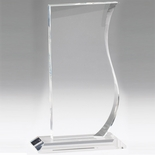 7-1/2 INCH CRYSTAL WAVE SHAPE AWARD
