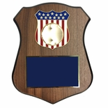 7-1/2 X 9-1/2 INCH POLICE SHIELD SHAPE PLAQUE WITH AMERICAN FLAG SHIELD