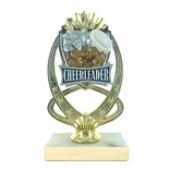 7-1/4 INCH FULL COLOR MODELED CHEERLEADING TROPHY ON MARBLE BASE