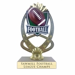 7-1/4 INCH FULL COLOR MODELED FOOTBALL TROPHY ON MARBLE BASE