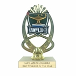 7-1/4 INCH FULL COLOR MODELED LAMP OF LEARNING TROPHY ON MARBLE BASE