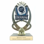 7-1/4 INCH FULL COLOR MODELED SWIMMING TROPHY ON MARBLE BASE