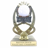 7-1/4 INCH FULL COLOR MODELED VOLLEYBALL TROPHY ON MARBLE BASE