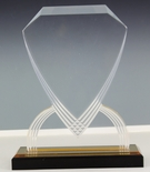 7-3/4 INCH ACRYLIC SHIELD TROPHY WITH GOLD REFLECTIVE BLACK BASE