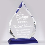 7-3/4 X 5 INCH ARROWHEAD OPTICAL CRYSTAL AWARD WITH BLUE BASE