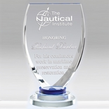 7-3/4 X 4 INCH OPTICAL CRYSTAL SHIELD AWARD WITH 3 RINGS BASE BLUE TINT