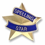 7/8 INCH SPELLING STAR LAPEL PIN