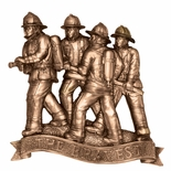 7 FIRE FIGHTERS WITH HOSE ANTIQUE BRASS DIE CAST PLAQUE MOUNT