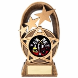 7 GOLD STAR RESIN AUTO RACER TROPHY FULL COLOR INSERT
