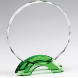 7-3/4 INCH GREEN DOUBLE ARCH BASE WITH CUT & BEVELED CRYSTAL CIRCLE AWARD