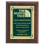 7 X 9 INCH PLAQUE GENUINE WALNUT WITH SCREENED FROSTED PLATE - COLOR OPTIONS