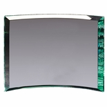 7 x 9 x 3/4 PREMIUM GLASS CURVED AWARD JADE COLOR BEVELED EDGE