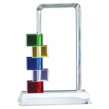 8-1/2 INCH MULTI-COLOR GLASS STACKED BLOCKS AWARD