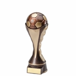 8-1/4 SOCCER BALL SCULPTED HEAVY WEIGHTED PLASTIC TROPHY ANTIQUE GOLD