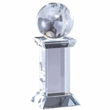 8-1/4 x 3-1/4 INCH OPTICAL CRYSTAL GLOBE TROPHY ON CRYSTAL BASE