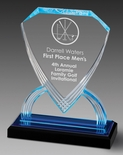 8-3/4 INCH ACRYLIC SHIELD TROPHY WITH BLUE REFLECTIVE BLACK BASE