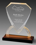 8-3/4 INCH ACRYLIC SHIELD TROPHY WITH GOLD REFLECTIVE BLACK BASE