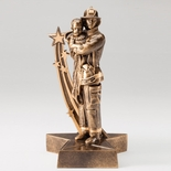 8-3/4 RESIN FIREMAN WITH CHILD IN ANTIQUE GOLD FINISH