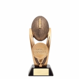 8 INCH FANTASY FOOTBALL TROPHY ANTIQUE GOLD RESIN FINISH ON BLACK BASE